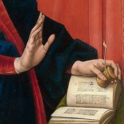"""""""Skubanti šviesa""""-  viduramžių skaitymo žvakė. H. Memling """"Apreškimas"""" 1482m."""