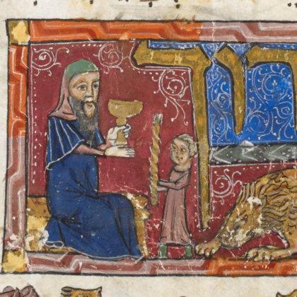 """Šabo pabaigoje žydai uždega Havdalah žvakę. Iliustracija iš XIV a. """"Barcelona Hagadah"""""""