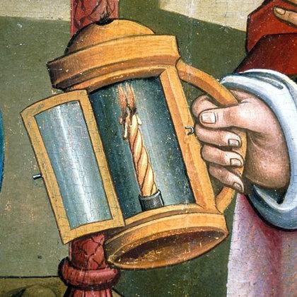 """Šv. Juozapas su žibintu. Paveikslo """"Gimimas"""" detalė. 1490m."""