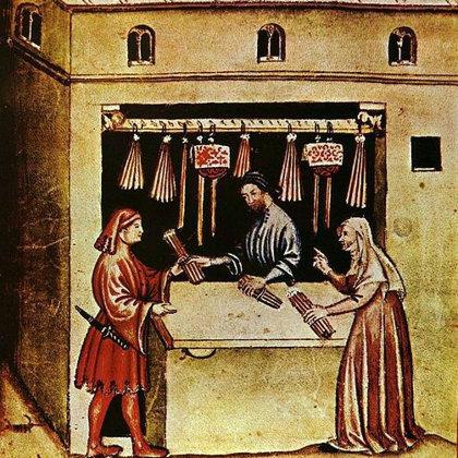 """Žvakių pardavėjas. Fragmentas iš XIV a. knygos """"Tacuina sanitatis"""" (""""Sveikatos priežiūra"""")"""